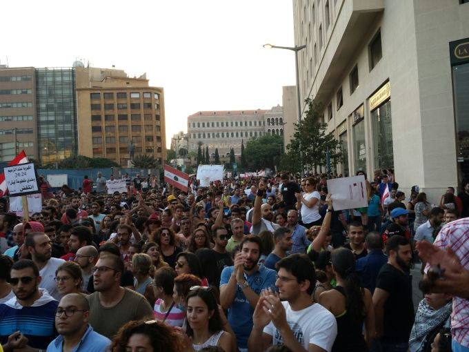 Crowds moving through Beirut's Downtown prior to the explosion of violence.